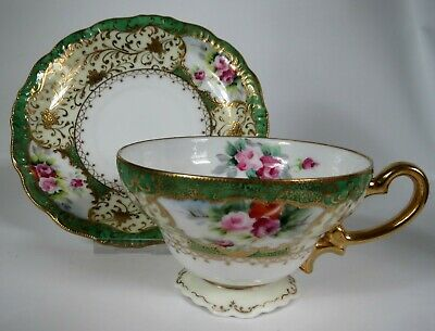 Lovely Vintage Cup and Saucer Chubu China 1998 Occupied Japan Roses Green Gold