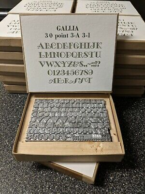 New Letterpress Metal Type, 2019 casting - Gallia 30 Point Font, All CAPS