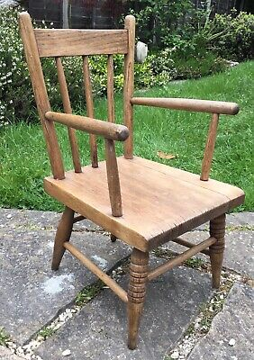 Charming Childs Vintage Antique Oak Rustic Country Made Chair Possibly Welsh