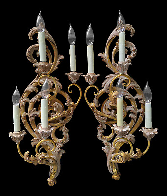 Facing Pair 20thC Italian Rococo Antiqued Giltwood Sconces: Electrified, 4 Light