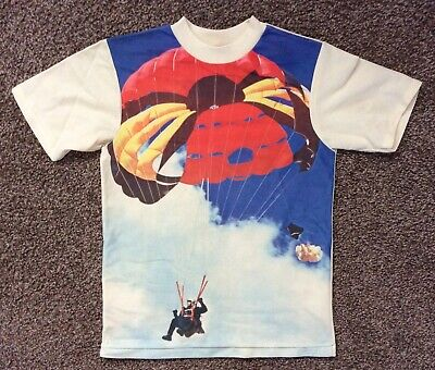 Vtg 70s Custom Casual Parachute T-Shirt Youth L Boys Polyester Parachutist