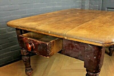 Antique Victorian Scrub Top Pine Reclaimed Farmhouse Kitchen Dining Table