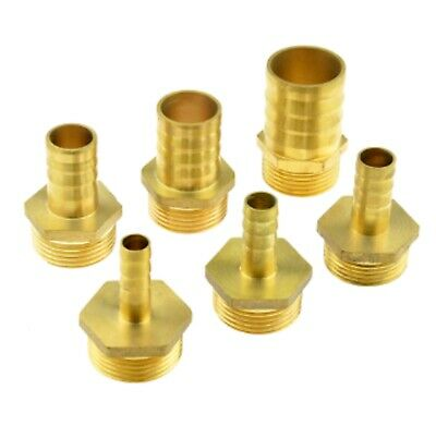 "10mm 12mm 14mm Hose Barb Tail 3/4"" BSP Male Straight Brass Connector Fitting UK"