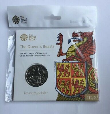 2018 Queen's Beasts Red Dragon of Wales BU £5 Five Pound Coin Royal Mint Sealed