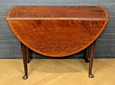 Antique Georgian George III Plum Pudding Sycamore Drop Leaf Table Kitchen Table