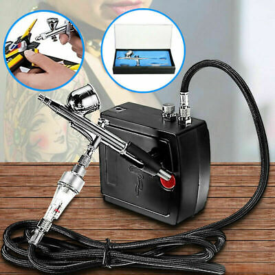 Airbrush Air Compressor Kit Dual-Action Spray Brush Set Tattoo Nail Art Tool HOT