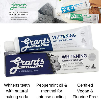 Grants Natural Whitening Toothpaste 110g with Baking Soda Fluoride Free Organic