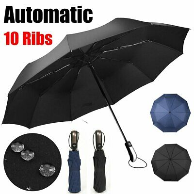 """42"""" 10 Ribs Strong Frame Umbrella Automatic Folding Compact Windproof Travel CA"""