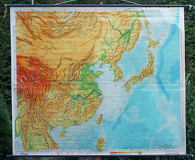 Schulwandkarte Wall Chart Roll Asia East China School Map Card 221x191