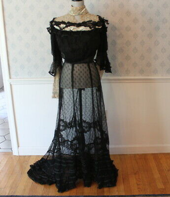 Antique Victorian / Edwardian Black Lace Bodice with Matching Ruffled Lace Skirt
