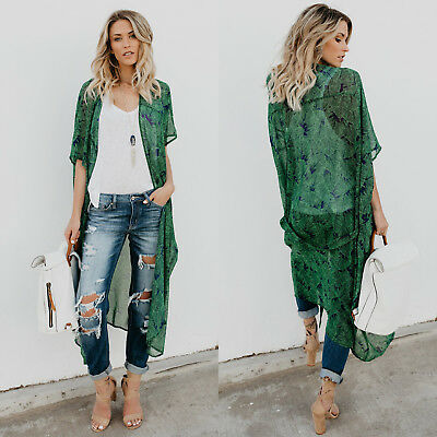 Women Floral Loose Kimono Cardigan Boho Beach Cover Up Tops Long Coat Blouse