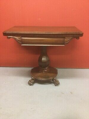 Antique Rosewood Fold Over Card Games Table Sn-p