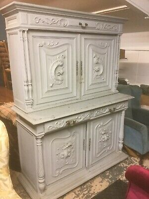 Antique French Painted Carved Cupboard / Dresser Sn-634a
