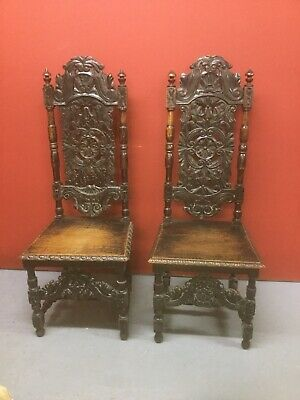 Antique Pair Of Carved Oak Hall Chairs Sn-635a