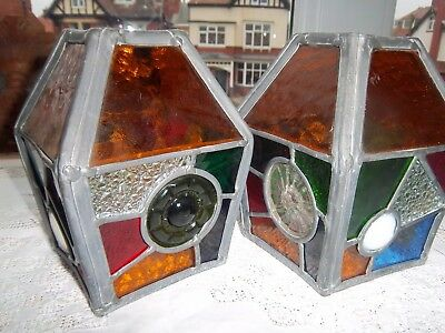 Arts And Crafts Stained Glass Lanterns/Lamp/Light Shades.pair