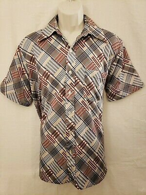 Vintage J.c. Penny Mens Short Sleeve Tapered Permanent Press Button Shirt Size L