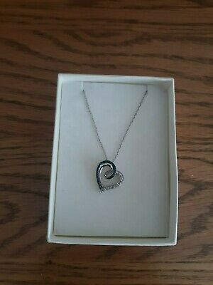 1ecb5ca26 Kay Jewelers Sterling Silver Necklace W/ Blue & White Diamond Heart Pendant