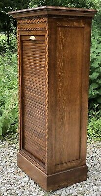 Outstanding Rare Tambour Oak Arts & Crafts Office Filing Cabinet Chest 9 Trays