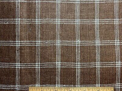 """Antique Vintage Linen Fabric Woven Brown and White Plaid 36""""w 1yd"""