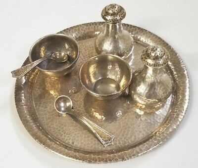 Marshall Field STERLING Silver ARTS & CRAFTS Mini TRAY SET Hammered
