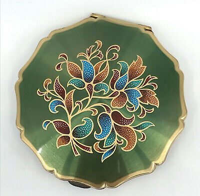 Stratton Convertible Powder Compact 1960s Green Florate Leaf Signed Princess Vtg