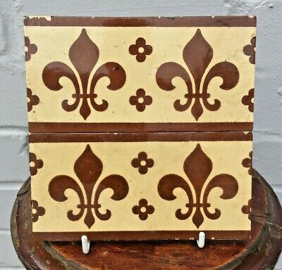 "Pair of  Reclaimed English Minton's Hollins & Co Fleur de Lys Tiles 6""x3"""