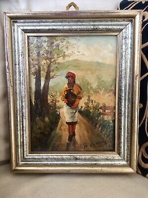 Original 1900s Signed VECCHI Oil Painting on Board,Peasant Woman,Old Wood Frame