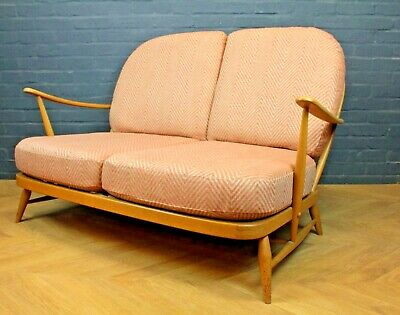 Mid Century 1960's Blond Elm Ercol 203 Sofa Settee ~ With New Cushions & Covers