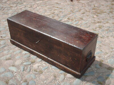 Antique Victorian Rustic Pine Box / Chest With Working Lock