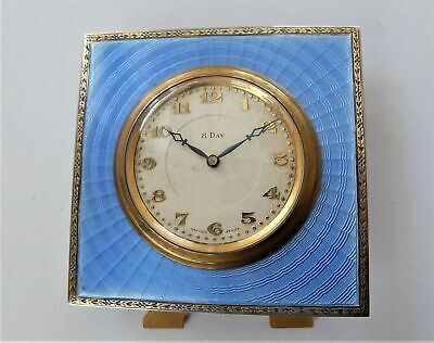 1925 Silver & Blue Enamel 8 Day Swiss Lever Strut Clock / Bedside Clock Working