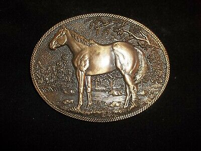 Vintage Horse #0151 Solid Brass BELT BUCKLE by Montana Silversmiths USA