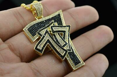 14K Yellow Gold Plated Hip Hop Bling CZ Iced out Lucky 7's Pendant w/ Chain