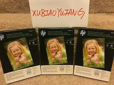Lot of 3 HP Everyday Photo Paper 4 x 6 100 sheets Semi-Glossy Q5440A, 300 Total