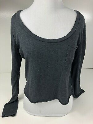 5a12792da95 Victorias Secret Pink Small (S) Solid Gray Top Shirt Cropped Long Sleeve  Shirt