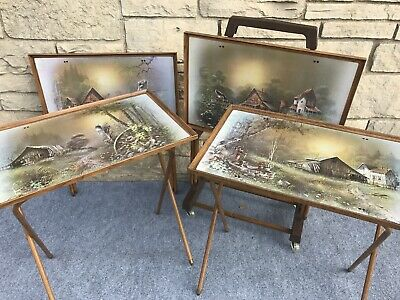 Set of 4 Mid Century Andres Orpinas Barn Seasons TV Snack Trays Set w/ Cart