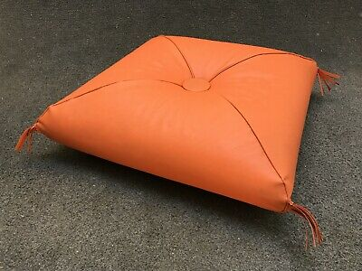 Mid Century Modern Orange Fringe Stack Floor Cushion Ottoman Hassac - 20""