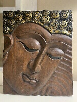 """Vintage Hand Carved Wood Wall Decor Plaque Buddha 10"""" X 12"""""""