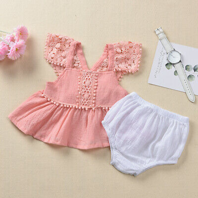 3726d2db5 USA Newborn Baby Girl Lace Floral Tops Dress PP Pants Bloomer Summer  Outfits Set