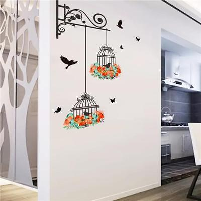 Flowering Branch with Bird Cage Home Art Decal Wall Sticker Decal Decoration LJ