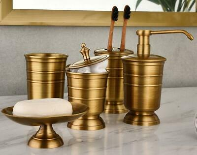 Antique Bathroom Accessory Set Toilet Mouth Cup Brushing Brass Toothbrush Holder