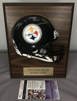 bf54c5cdcad Ben Roethlisberger SIGNED Pittsburgh Steelers Mini Helmet Plaque w/ JSA COA