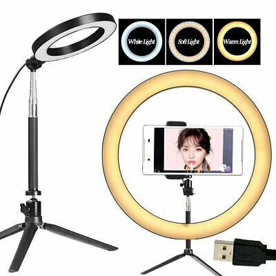 "8"" LED Ring Light Kit Studio Photo Video Dimmable Lamp Stand Selfie Camera Phone"