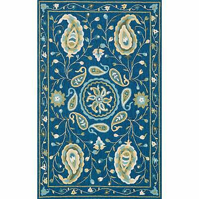 """Hand-hooked Charlotte Blue/ Green Paisley Rug (2'3 x 3'9) - 2'3"""" x 3'9"""""""