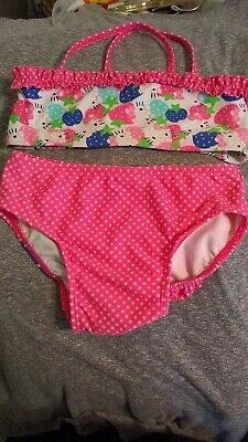 6ce2f360150 HELLO KITTY SWIMSUIT Oneill Size 3T Tropical Sanrio 2 Piece Toddler ...