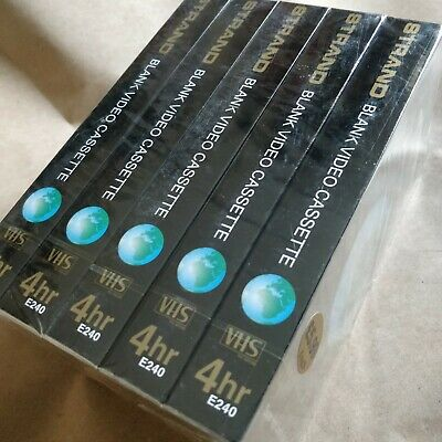 5x E240 Blank VHS Video Cassettes Tapes. Strand Super High Quality New & Sealed.
