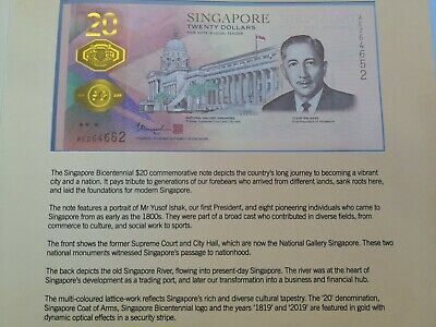 New Singapore 200 Years Bicentennial Commemorative $20 Note & Folder!