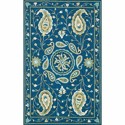 """Hand-hooked Charlotte Blue/ Green Paisley Rug (3'6 x 5'6) - 3'6"""" x 5'6"""""""