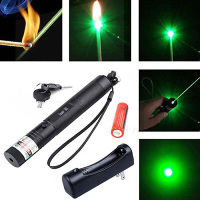 Green Laser Pointer Pen 5mW 532nm Burning Lazer Visible Beam + Battery + Charger