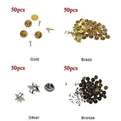 c7191ea15396 DIY Brooch 50pcs Round Clasps Pin Tie Tacks Blank Pins With Clutch Back