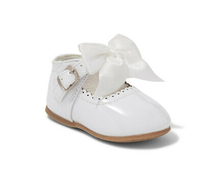 Sevva Baby Girls Isabelle Spanish Romany Style White Ribbon Lace Patent Boots